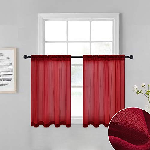 MIULEE Solid Xmas Red Kitchen Sheer Curtains Tiers 36 inches Length with Linen Textured for Small Half Window Bathroom Voile Drapes for Christmas Living Room Decor 2 Panels 29 inches Wide