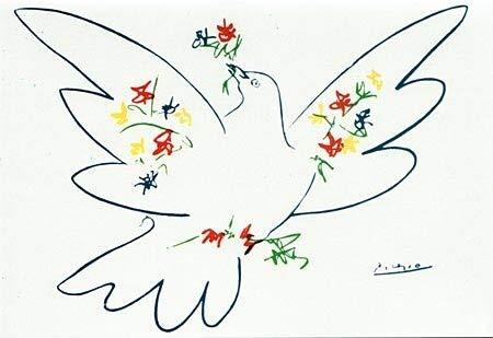 Kunstkarte Picasso Taube mit bunten Blumen