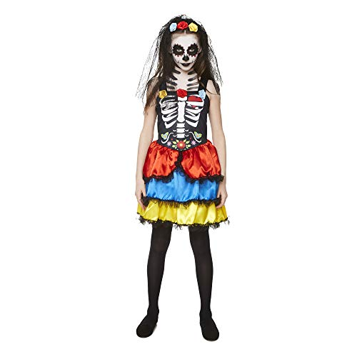 Karnival Kostuums 84552 Halloween Dag van de Dode Meisje Kostuum, Multi, XX-Large