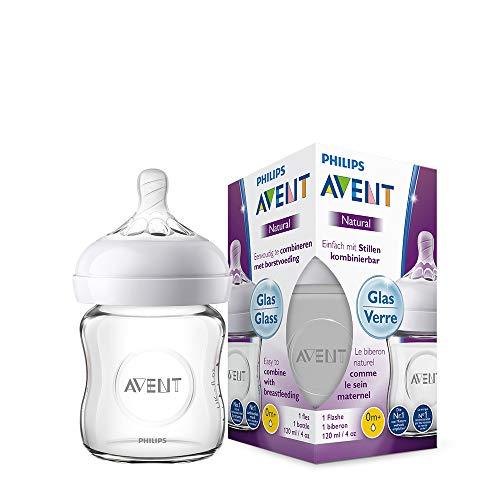 Philips Avent Natural Flasche SCF051/17, 120 ml, naturnahes Trinkverhalten, Anti-Kolik-System, aus Glas, 1er Pack