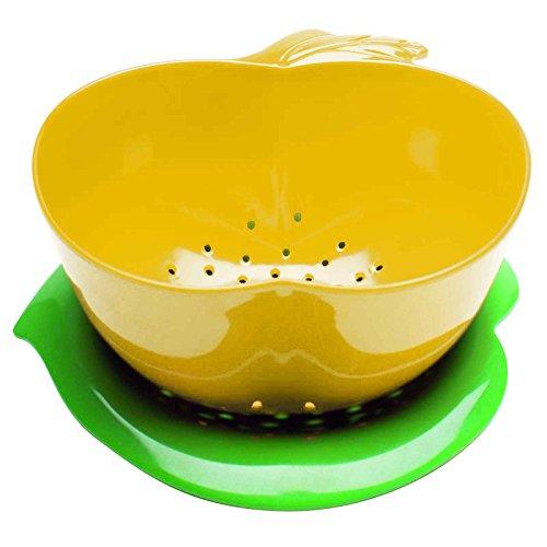 Zak Designs 2147-A850 Passoire Pomme avec Soucoupe - Jaune/Vert