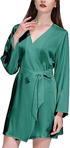 Pigiama Sexy Kimono Robe Solid Casual Sleepwear Sleepwear Obliquo con scollo a V breve Nightdress Breve accappatoi Abito in pizzo (Color : Dark Green, Size : S)