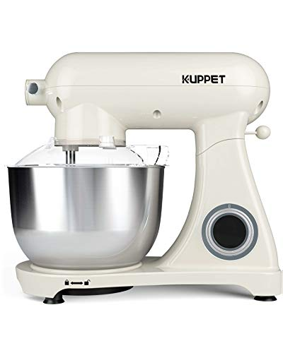 KUPPET Stand Mixer Pro, All Metal Body Mixer, Tilt-Head Electric Food Mixer with Dough Hook, Wire Whip & Beater, Pouring Shield, 5.5QT Stainless Steel Bowl - Cream