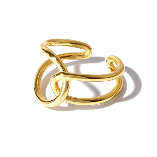 [NARU] シルバー925 クロス リング 【サイズ調整可能】 指輪 メンズ レディース フリーサイズ シンプル おしゃれ かわいい ペア おそろい カップル 人気 ブランド 18金メッキ 金 ゴールド