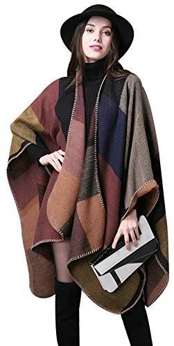 ilishop Women's Winter Reversible Oversized Blanket Poncho Cape Shawl Cardigans Khaki Free