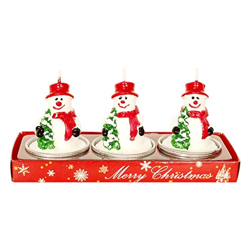 Vinyl Etchings 3PCS Christmas Candle Romantic Candlelight Dinner Atmosphere Decoration Christmas Decoration is Essential. (White)