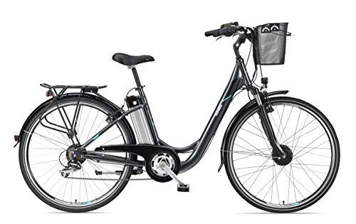 Telefunken E-Bike Elektrofahrrad Alu 28 Zoll mit 7-Gang Shimano Kettenschaltung, Pedelec Citybike leicht mit Fahrradkorb, 250W und 10,4Ah, 36V Sitzrohrakku, RC820 Multitalent