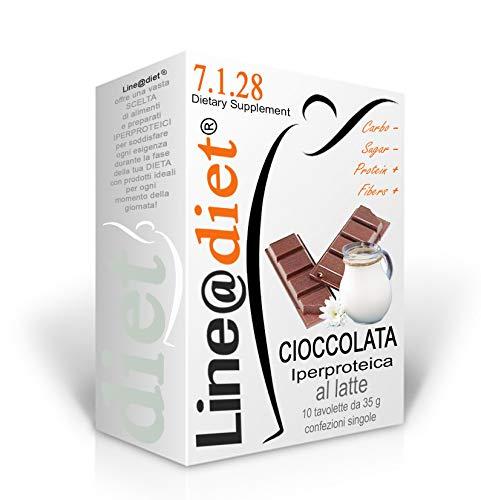 10 Tavolette di CIOCCOLATA PROTEICA al LATTE Line@Diet | low sugar | la cioccolata PROTEICA da MORDERE | SOLO 2,7 g di zucchero per 35 g | Ideale per la PRIMA FASE DIETA IPERPROTEICA | con stevia (10)