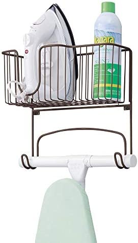 mDesign Metal Wall Mount Ironing Board Holder with Large Storage Basket - Easy Installation, Holds Iron, Board, Spray Bottles, Starch, Fabric Refresher for Laundry Rooms - Bronze