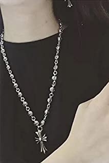 037620ac96ff Follsy Chrome Hearts Necklace European and American Big Influx of People  Retro Cross Long Sweater Chain