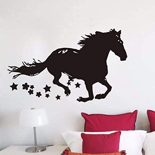 Wilde Paard Vinyl Muurstickers Lopend Paard Decoratieve Stickers Thuis Woonkamer Decor Paard met Sterren Verwijderbare Poster