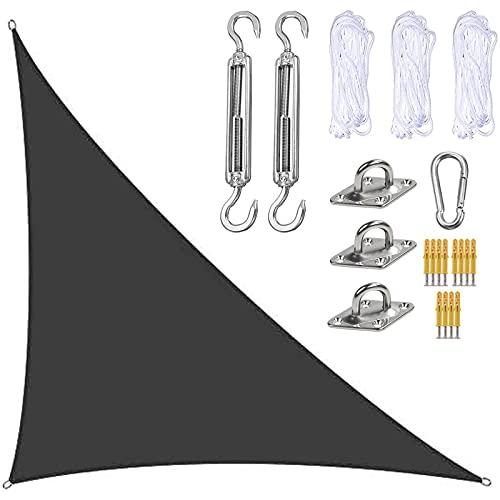 Toldo Parasol de Poliéster, Toldo Vela de Sombra Ángulo Recto Triangular 3x4x5m, Protección Solar Resistente al Agua, Protección UV, con Kit De Fijación y Cuerda, para Jardín, Terraza,Dark Gray