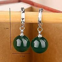 イヤリング- 女性ファッション気質レッドグリーンアゲート925シルバーピアス (Color : Green Agate C)