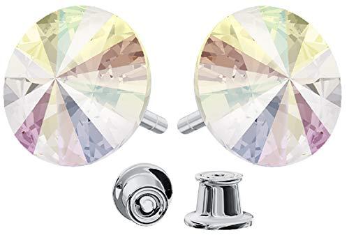 Crystals & Stones * * Rivoli * * 12mm * Crystal AB * 925plata pendientes–pendientes con cristales de swarovski elements, ideal como regalo para mujeres o novia pin/75