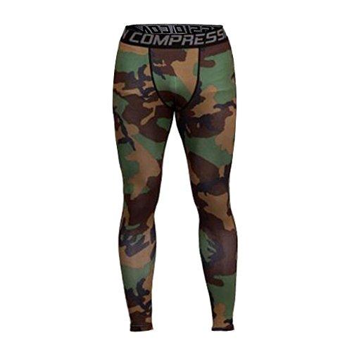 Générique Pantaloni di Sport Uomo Legging di Compressione Disco Abbigliamento Alta Elasticità Mimetico L