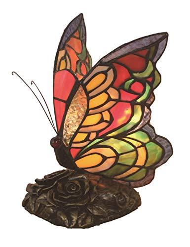Creativo decorativo europeo vintage pastoral colorido mariposa hecha a mano vitral lámpara de mesa lámpara de escritorio dormitorio lámpara