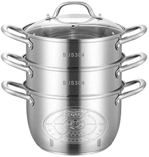 3 Animales de acero inoxidable Inminuction Steamer Conjunto de vaporizador con tapa de vidrio Utensilios de cocina Pot & Pan Conjunto de tapa de sopa de múltiples capas grandes y vapor triple 28 cm