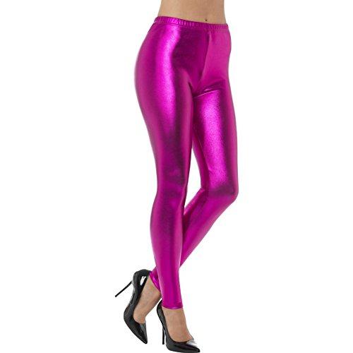 Smiffys Damen 80er Jahre Metallic Disko Leggings, Größe: 40-42, Pink, 48107
