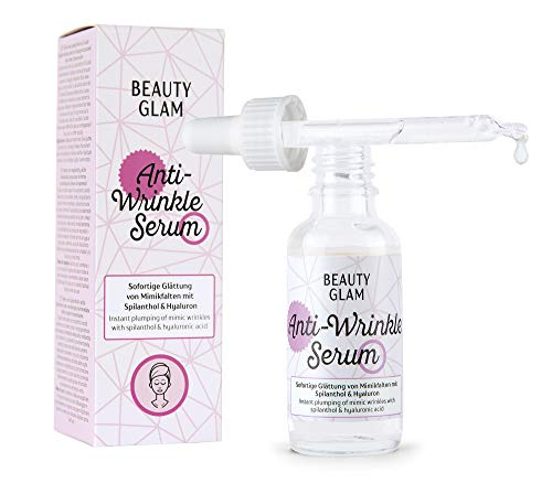 Beauty Glam - Anti-Wrinkle Serum- Gesichtsserum zur Falten- und Mimik Glättung mit Spilanthol - Vegan, ohne Farbstoffe, silikonfrei und parabenfrei - 30 ml