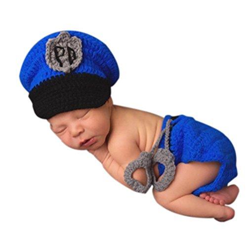 AKAAYUKO Neugeborenes Baby Handgefertigt Häkelware Fotografie Outfits (Polizist Hut Windel Set)