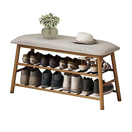 Organizador de almacenamiento de zapatero Rack de zapatos Estante de zapatos de bambú de 3 capas Rack-Bench Soft Asiento Zapato Cambio de zapatos Rack Sala de estar Habitación Dormitorio Pasaje Zapato