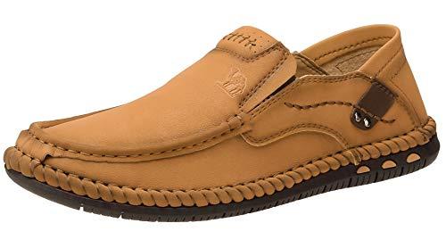 CAMEL CROWN Herren Bequeme Oxford Loafers Schuhe Leicht Weich Casual Slip-on Naht Elastisch Outdoor Wandern Walking, Braun (hellbraun), 38.5 EU
