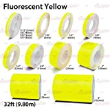 AutoXpress | Fluorescent Yellow Roll Pinstriping Styling Trim Coachline Pin Stripe DIY Self Adhesive Line Car Motorcycle Truck Bike Model Hobbies Vinyl Tape Decal Stickers (1/4' - 6mm)
