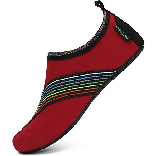 Zapatos de Surf para Hombres Respirable Zapatillas de Playa Piscina Ligeros Verano Calzado Acuáticos Mujeres Antideslizante Natación Zapatos Descalzos, Descalzo Rojo 40/41