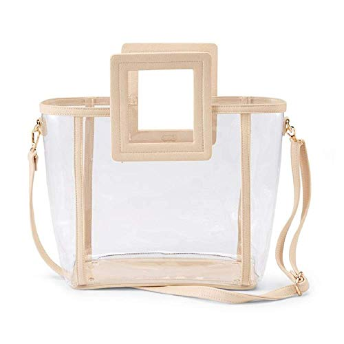 Mud Pie Women Clear Square Handle Tote Bag (Nude)