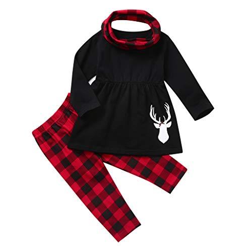 WEXCV Weihnachten Kleinkind Baby Mädchen Weihnachten Kleider Outfits Langarm Gefaltete Kante T-Shirt Tops Weihnachtsmuster Drucken Hosen Freizeit Weihnachts Party Kleidung Set