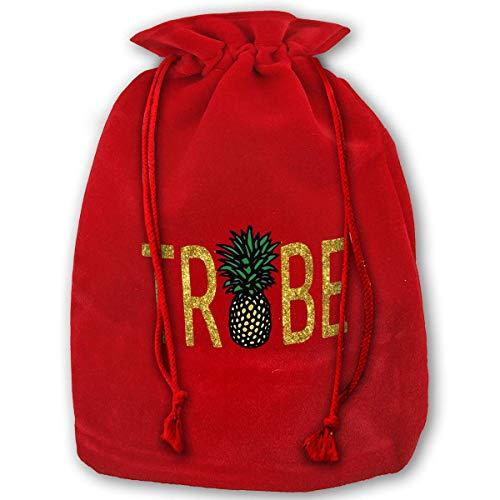 DJNGN Bolsa Grande C-hristmas Bride Tribe Pineapple Velour Santa Sack Bolsas con cordón Bolsas de joyería