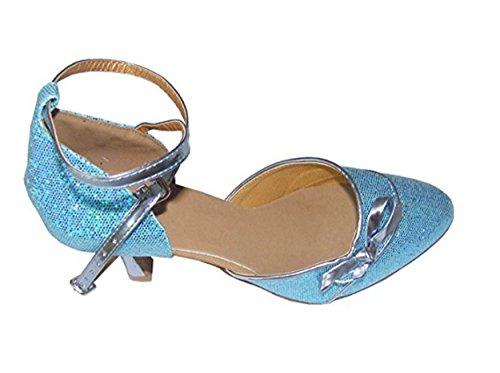 Pobfashion Moderne Tanzschuhe Damen mit blauem Glitzer und glänzender Schleife