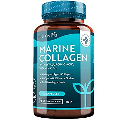 Premium Hydrolysed Marine Collagen Type 1-1000mg per Serving (90 Capsules) - Enhanced with Hyaluronic Acid, Vitamin C & E - Superior Bioavailability - Made in UK by Nutravita