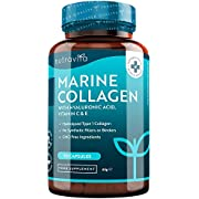 Meereskollagen 1.000 mg – 90 Kapseln mit erstklassigem hydrolysiertem Kollagen vom Typ I – Angereichert mit Hyaluronsäure, Vitamin C E B2, Zink, Kupfer und Jod – Hergestellt von Nutravita