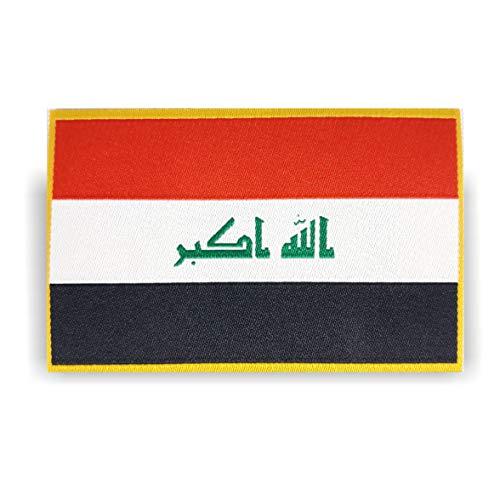 Generisch 2 x Irak Iraq Flagge Patch ca.8cm x 5cm Aufbügler Aufnäher mit Spezial-Klebstoff mühelosaufbügeln