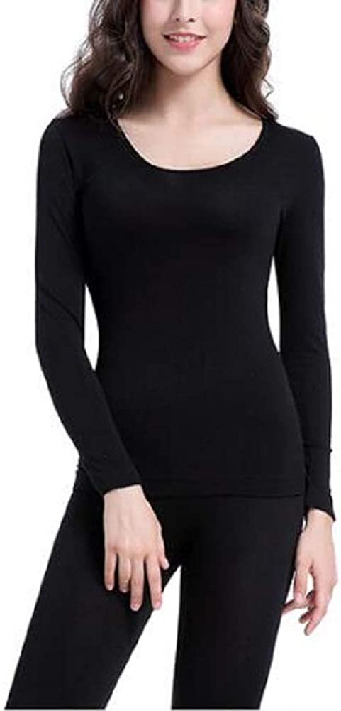 BJGHUIK Womens Seamless Thermal Underwear Suit Women Solid Color Slim Round Neck Knitted Tight Stretch