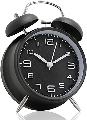 QTQZ Reloj Despertador de Campana Doble de 4', con batería, Ruidoso Reloj Despertador mecánico con Esfera estereoscópica, luz Nocturna, sin tictac (Negro)