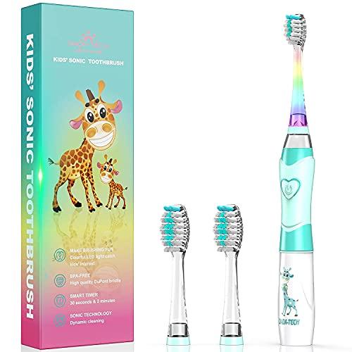 Cepillo de dientes eléctrico para niños, cepillo de dientes de batería para niños con temporizador operado por Sonic Technology para niños y niñas (nuevo verde)