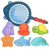 Vkospy Baby-Bad-Spielzeug-Set Sea Life Creature Cartoon Badezeug Kinder Wasser-Spray-Badezimmer Zubehör