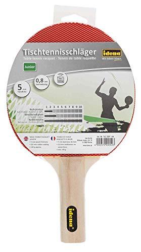 Idena 7423509 - Tischtennisschläger Junior, mit Griff aus Holz und Gummibelag in rot und schwarz, für die Freizeit sowie für Kinder, Einsteiger und Hobbysportler