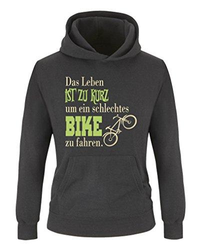 Comedy Shirts - Das Leben ist zu kurz um EIN schlechtes Bike zu Fahren - Jungen Hoodie - Schwarz/Beige-Hellgrün Gr. 110/116