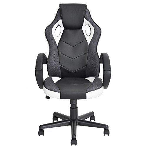FurnitureR Gaming Chair Ergonomic Executive Swivel Leather Office Chair Racing Style Gaming Chair High-Back Adjustable Computer Chair (White) chair gaming gray