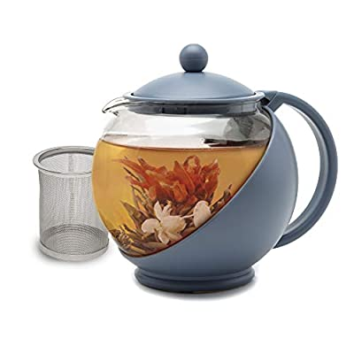 Primula Half Moon Teapot with Removable Infuser, Blooming and Loose Leaf Tea Maker Set, Stainless Steel Filter, Borosilicate Glass, Dishwasher Safe, 40oz, Blue
