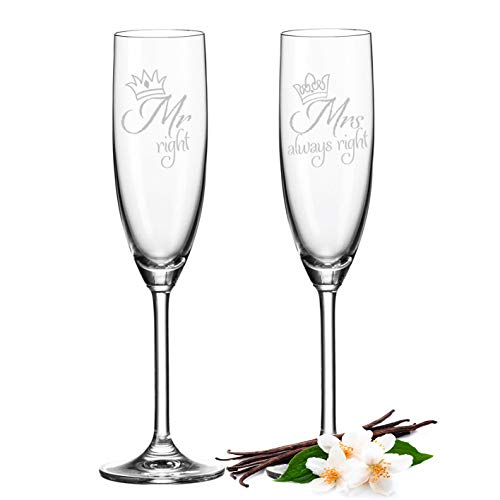 Leonardo - Copas de champán Mr. Right & Mrs. Always Right - Copas de champán para boda, regalos de boda para novios - Idea de regalo divertida