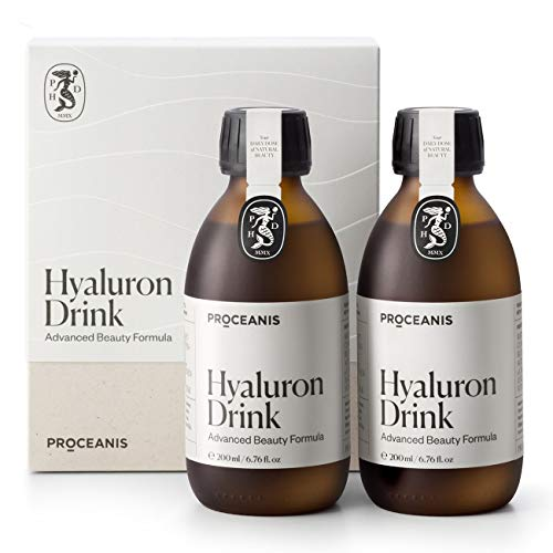 Original Hyaluron Beauty Drink I Hochdosiert I Vegan I Proceanis Hyaluronsäure Shot zum Trinken - Natürliche Schönheit von Innen (6 Wochen Kur)
