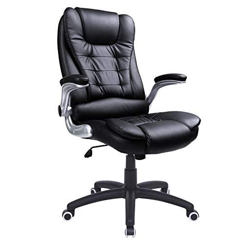 SONGMICS Racing Stuhl Bürostuhl Gaming Stuhl Chefsessel Drehstuhl PU, schwarz, OBG51B