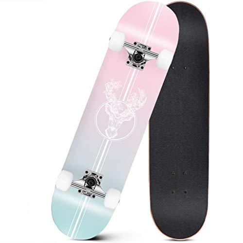 31 x 7 Zoll langes Board Doppelschicht Deck Skateboard Kreuzer 7 Layer Maple Konkav Komplett montiert High Bounce zum Jugendliche Erwachsene Kinder Anfänger Profi