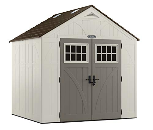CRAFTSMAN CBMS8701 Shed Outdoor Storage for Backyard Tools and Accessories All-Weather Resin Material, Transom Windows and Shingle Style Roof, 8' x 7', Vanilla