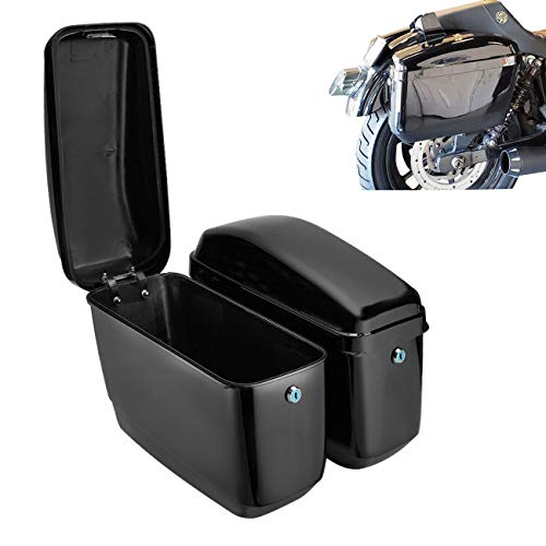 Hard Saddle Bags Trunk Luggage Motorcycle Cruiser w/Mounting Brackets Black
