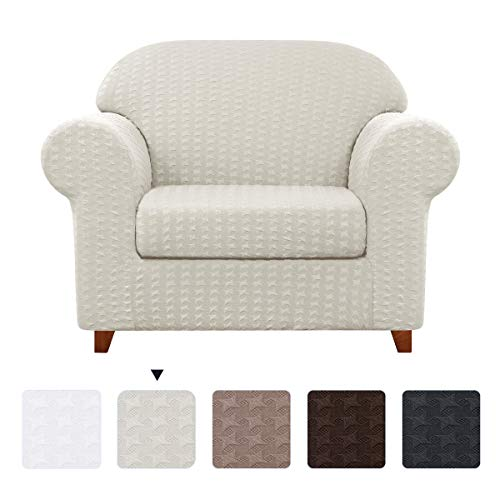 subrtex 2-Piece Sofa Slip Couch Settee Covers Pattern High Stretch Slipcovers Armchair Durable Soft Machine Washable in LivingRoom(Chair,Off-White Crane Paper)